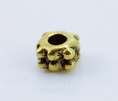Бусина металлическая - спейсер 4х3 мм (цвет - античное золото), 10 штук