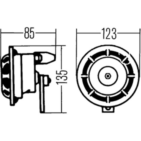Звуковой сигнал Hella 500/300 Гц (3AG 003 399-801)