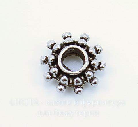 Бусина металлическая - спейсер (цвет - античное серебро) 9х3 мм, 10 штук