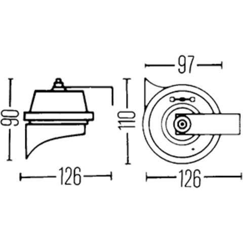 Звуковой сигнал Hella 500/400 Гц (3FH 002 924-821)