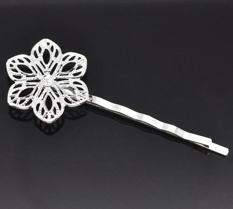Основа для заколки - невидимки 61 мм с филигранным цветком 23 мм (цвет - серебро)
