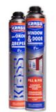 Пена монтажная KRASS Home Edition для окон и дверей пистолетная Зима 750мл (12шт/кор)