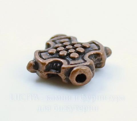 """Бусина металлическая """"Крестик"""" (цвет - античная медь) 12х12 мм"""