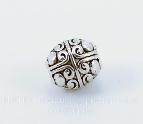 """Бусина металлическая """"Ажурная"""" (цвет - античное серебро) 8х7 мм"""