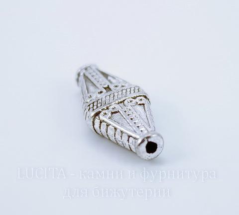 """Бусина металлическая """"Ромб"""" (цвет - античное серебро) 22х10 мм"""