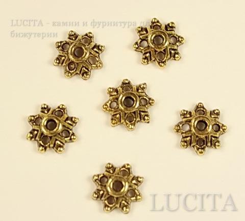 """Шапочка для бусины """"Цветочек - 3"""" (цвет - античное золото) 8х8х3 мм, 10 штук ()"""