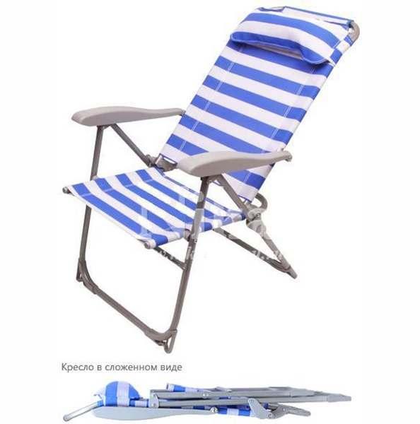 Кресло-шезлонг складное с подушкой К2, синяя ПВХ, каркас серебро,  Ника, г. Ижевск