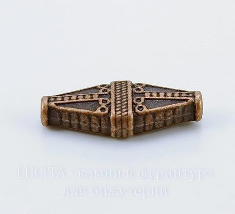 """Бусина металлическая """"Ромб"""" (цвет - античная медь) 22х10 мм"""