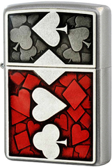 Зажигалка Zippo Card Suits Emblem, Satin Chrome 24850