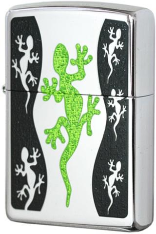 Купить Зажигалка Zippo Green Lizard, High Polish Chrome 21149 по доступной цене