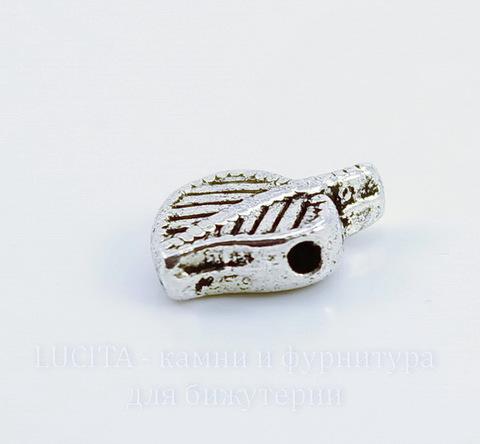 """Бусина металлическая """"Лист"""" (цвет - античное серебро) 13х8 мм"""