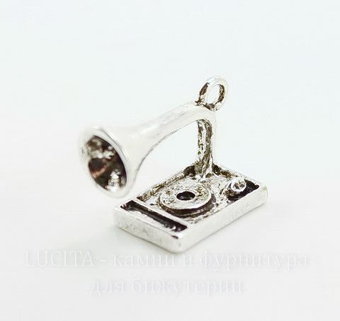 "Подвеска 3D ""Граммофон"" 17х12 мм (цвет - античное серебро)"