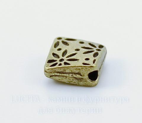 """Бусина металлическая - ромб """"Цветочки"""" (цвет - античная бронза) 7х7 мм, 10 штук"""