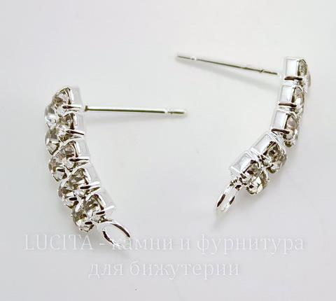 Пуссеты - гвоздики с прозрачными фианитами 18х6 мм (цвет - серебро)(без заглушек)