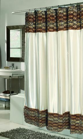 Элитная шторка для ванной Zuri Leopard Wave Fur от Carnation Home Fashions