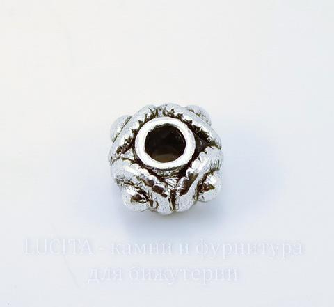 """Бусина металлическая """"Поделка"""" (цвет - античное серебро) 8х5 мм ()"""