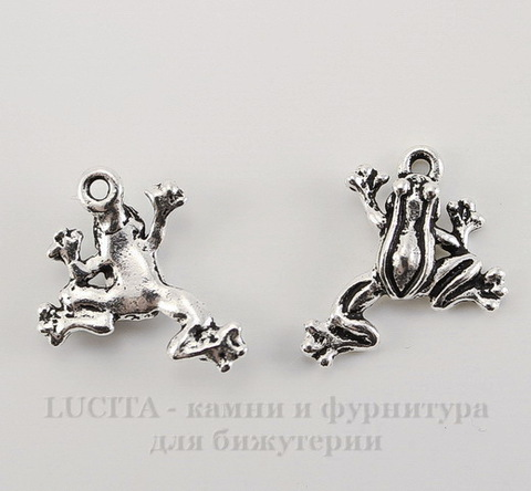 "Подвеска TierraCast ""Лягушка"" (цвет-античное серебро) 20х16 мм"