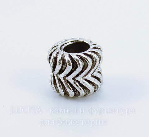 Бусина металлическая для пандоры (цвет - античное серебро) 10х8 мм