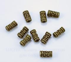 Бусина металлическая - трубочка 8х4 мм (цвет - античная бронза), 10 штук