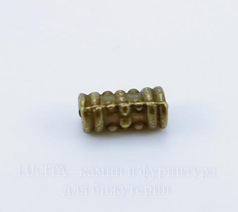 Бусина металлическая трубочка (цвет - античная бронза) 8х4 мм, 10 штук