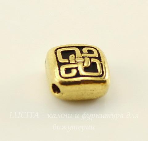 """Бусина ромб маленький TierraCast """"Кельтская"""" 8х8 мм (цвет-античное золото)"""