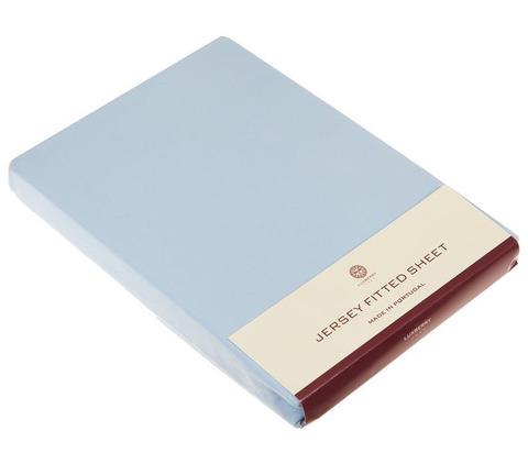 Элитная простыня (Т) Трикотаж Джерси голубая от Luxberry