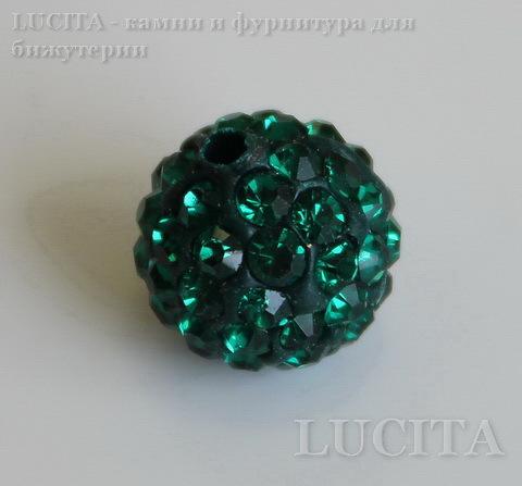 Бусина для шамбалы с фианитами, цвет - зеленый, 10 мм