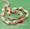 Бусина Агат цветочный (тониров), капля с огранкой, цвет - светлый микс, 15х10 мм, нить
