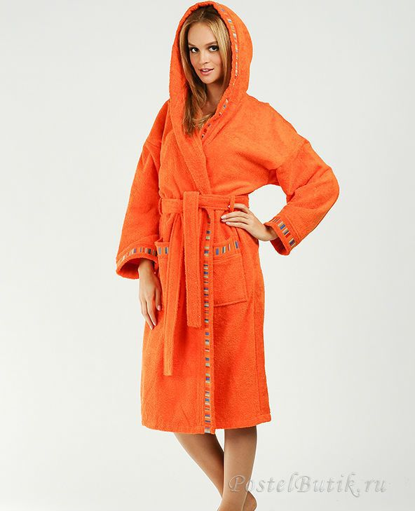 Элитный халат махровый Yupi оранжевый от Caleffi