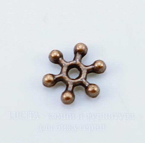 """Бусина металлическая - спейсер """"Снежинка"""" (цвет - античная медь) 8х2 мм, 10 штук"""