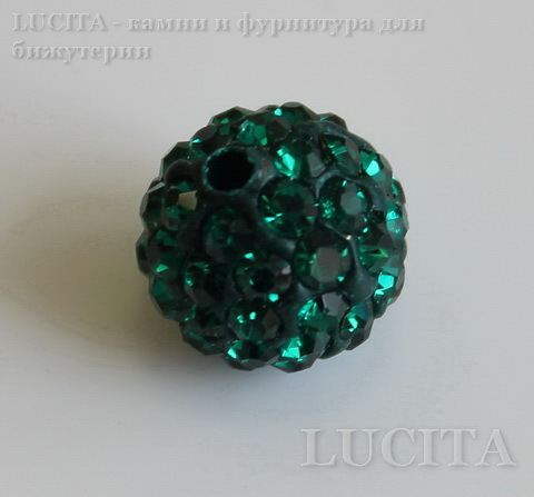 Бусина для шамбалы с фианитами, цвет - зеленый, 10 мм ()