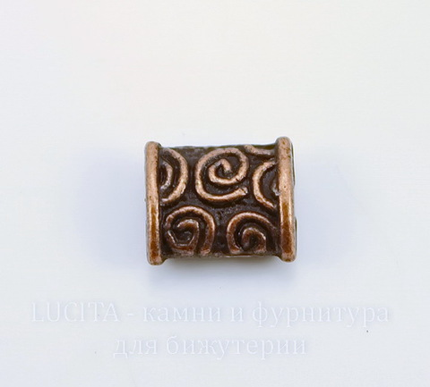 """Бусина металлическая прямоугольная """"Спирали"""" 8х7 мм (цвет - античная медь)"""