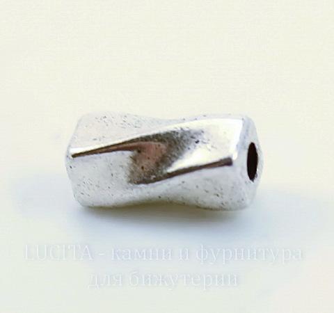 """Бусина металлическая """"Крученая"""" (цвет - античное серебро) 9х4 мм, 10 штук"""