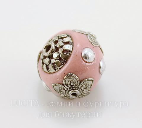 """Бусина """"Индонезийская"""" ручной работы розовая, 19 мм ()"""