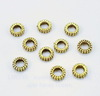 Бусина металлическая - спейсер (цвет - античное золото) 7х2 мм, 10 штук