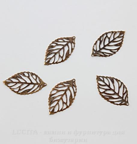 """Подвеска """"Лист маленький"""" (цвет - античная бронза) 24х14 мм, 5 штук"""