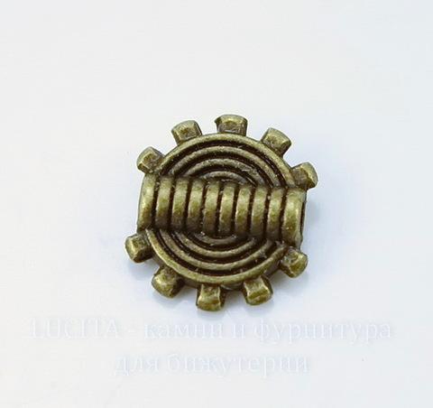 "Бусина металлическая ""Шестеренка"" (цвет - античная бронза) 10х2 мм, 10 штук"