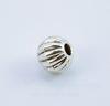 Бусина металлическая, шарик с узором (цвет - античное серебро) 6 мм , 10 штук