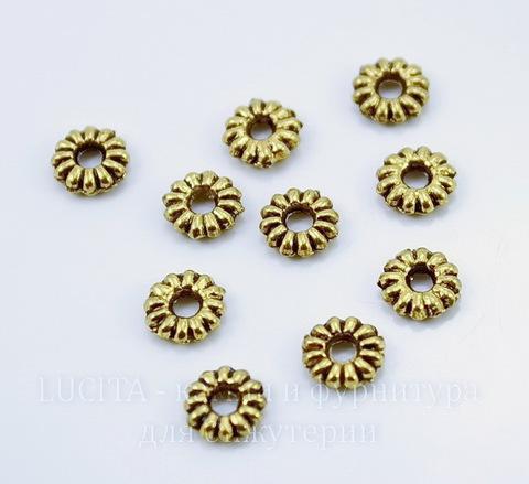Бусина металлическая - спейсер (цвет - античное золото) 6,5х2 мм, 10 штук