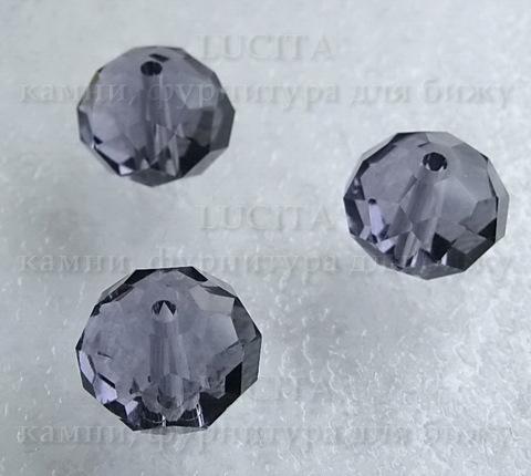 Бусина - рондель стеклянная сиреневая 15х11 мм ()
