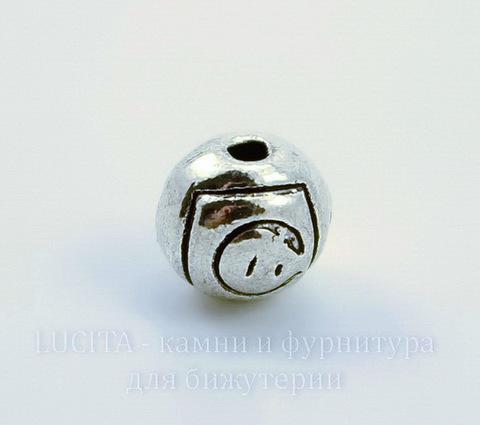 """Бусина металлическая - шарик """"Роза"""" 7 мм (цвет - античное серебро), 10 штук"""