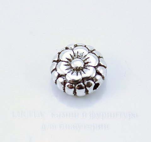 """Бусина металлическая круглая плоская """"Цветочек"""" 7х3 мм (цвет - античное серебро), 10 штук"""