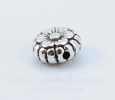 """Бусина металлическая """"Цветочек"""" (цвет - античное серебро) 7х3 мм , 10 штук"""