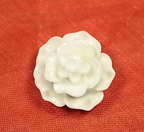 """Кабошон акриловый """"Роза"""", цвет - белый, 20 мм ()"""