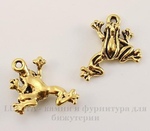 """Подвеска TierraCast """"Лягушка"""" (цвет-античное золото) 20х16 мм"""