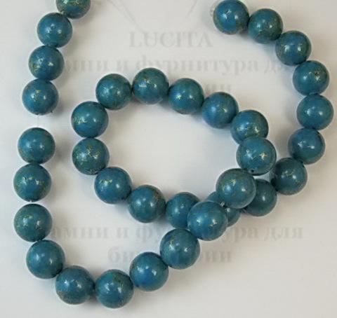 Бусина Бирюза (тониров), шарик, цвет - темная бирюза, 12 мм, нить ()