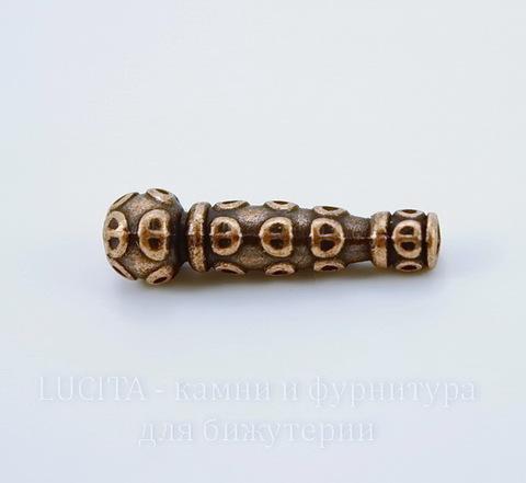 """Бусина металлическая """"Трубочка с узорами"""" (цвет - античная медь) 22,5х7 мм"""