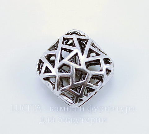 "Бусина металлическая ""Мозаика"" (цвет - античное серебро) 17х17 мм ()"