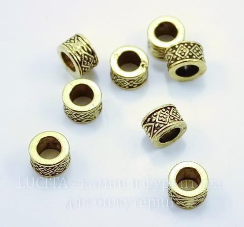 """Бусина металлическая """"Ромбики"""" (цвет - античное золото) 8х5 мм, 10 штук"""