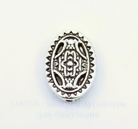 """Бусина металлическая овальная """"Мистика"""" (цвет - античное серебро) 13х10 мм, 10 штук"""
